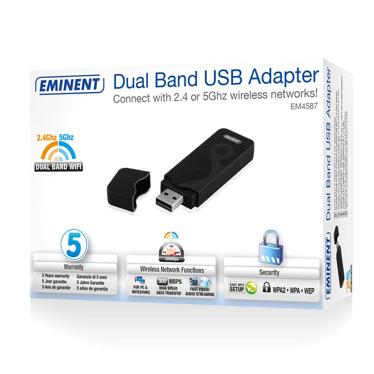 Eminent EM4587 Dual Band WiFi 300N USB adapter
